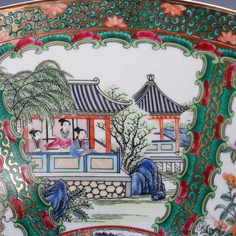 Large Chinese Rose Medallion Hand Enameled and Gilt Porcelain Center Bowl For Sale 1