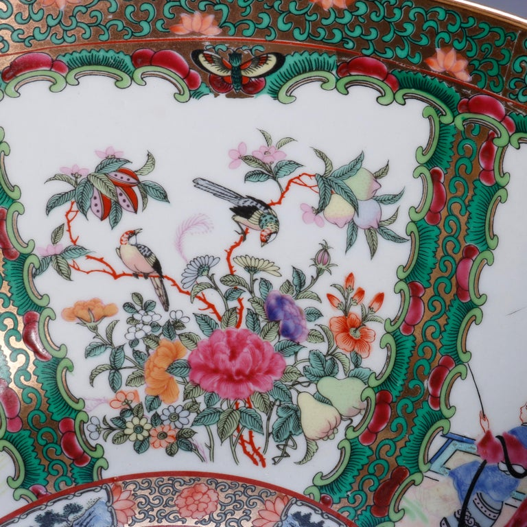 Large Chinese Rose Medallion Hand Enameled and Gilt Porcelain Center Bowl For Sale 2