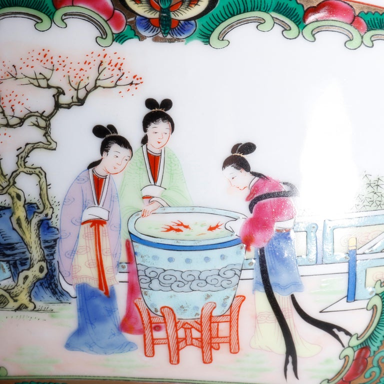 Large Chinese Rose Medallion Hand Enameled and Gilt Porcelain Center Bowl For Sale 3