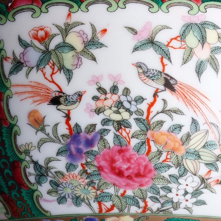Large Chinese Rose Medallion Hand Enameled and Gilt Porcelain Center Bowl For Sale 4