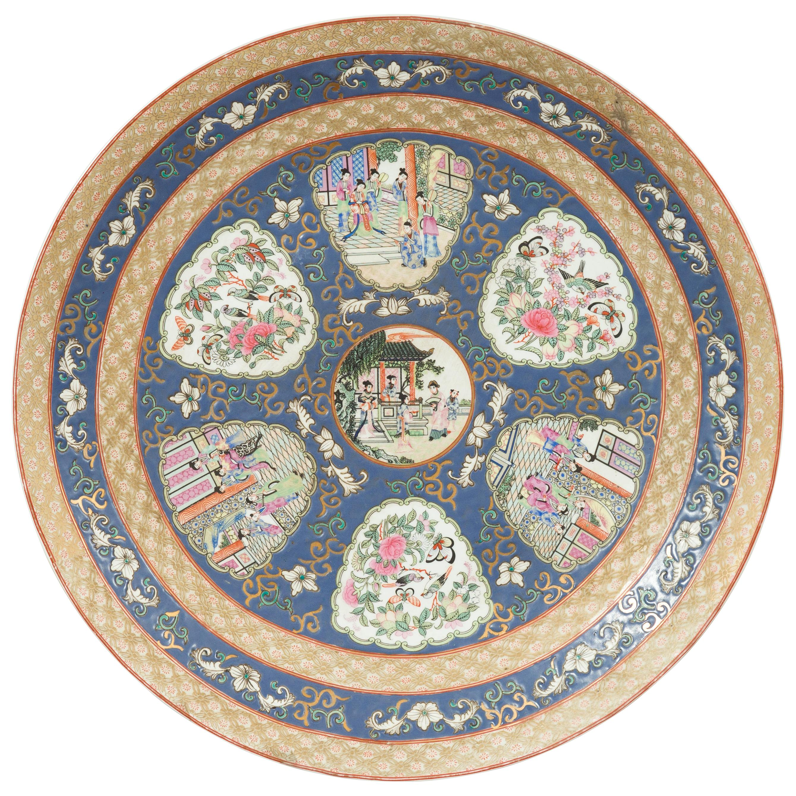 Large Chinese Rose Medallion Hand Painted Porcelain Platter with Court Scenes