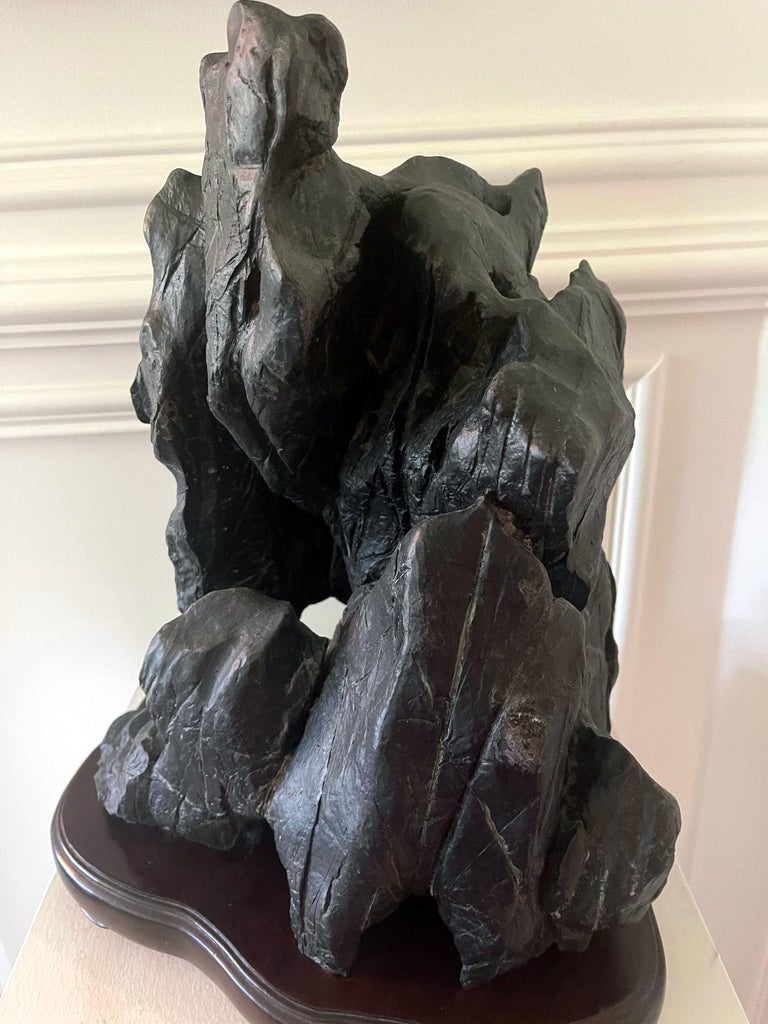 Large Chinese Scholar Lingbi Stone on Wood Stand For Sale 15