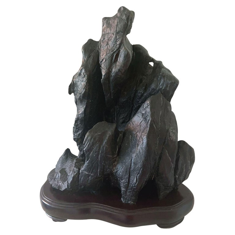 Large Chinese Scholar Lingbi Stone on Wood Stand For Sale