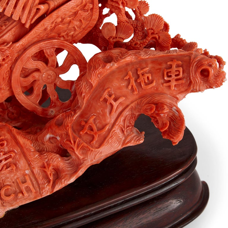Large Chinese Sculpted Coral Depicting a Dignitary and Attendants In Good Condition For Sale In London, GB