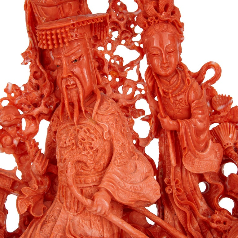 Large Chinese Sculpted Coral Depicting a Dignitary and Attendants For Sale 2