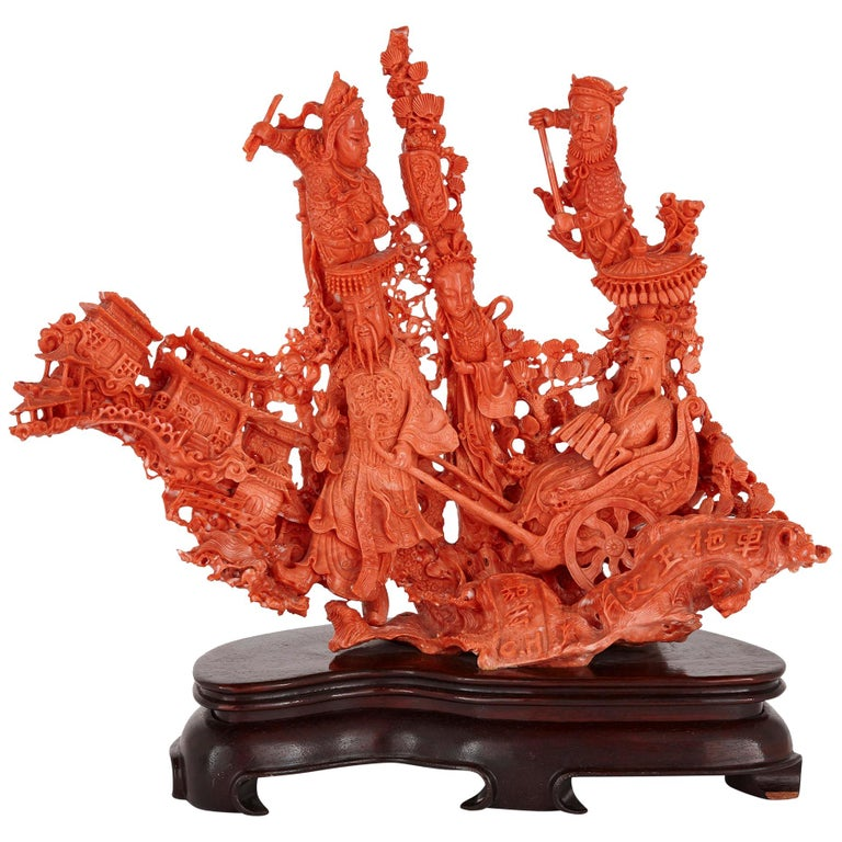 Large Chinese Sculpted Coral Depicting a Dignitary and Attendants For Sale