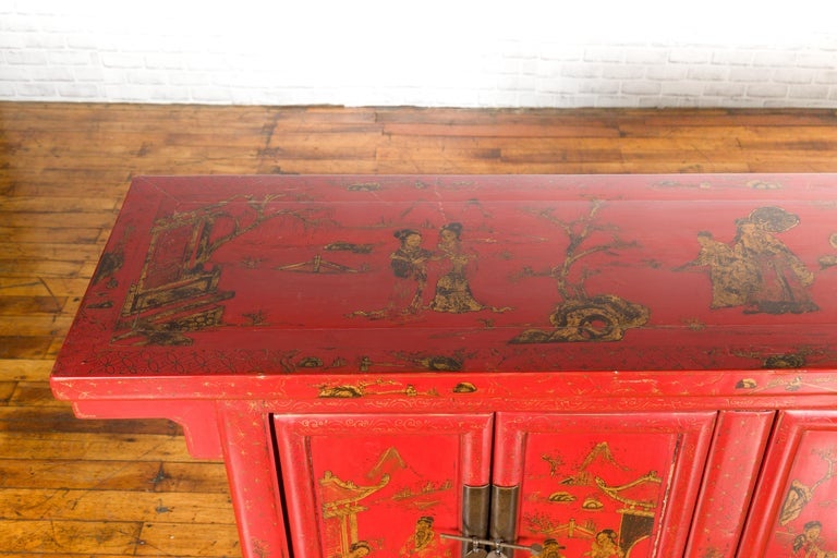 Large Chinese Shanxi Red Lacquered Sideboard with Gilded Chinoiseries Motifs For Sale 7