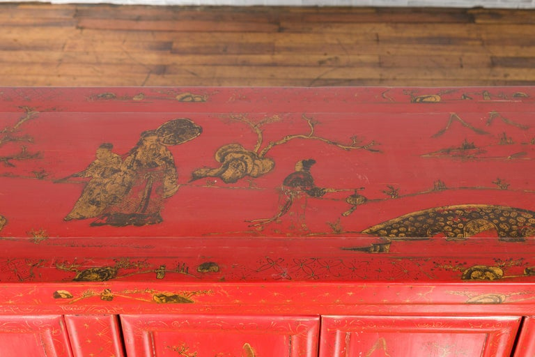 Large Chinese Shanxi Red Lacquered Sideboard with Gilded Chinoiseries Motifs For Sale 8