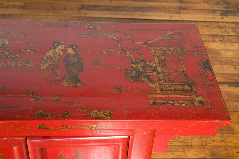 Large Chinese Shanxi Red Lacquered Sideboard with Gilded Chinoiseries Motifs For Sale 9