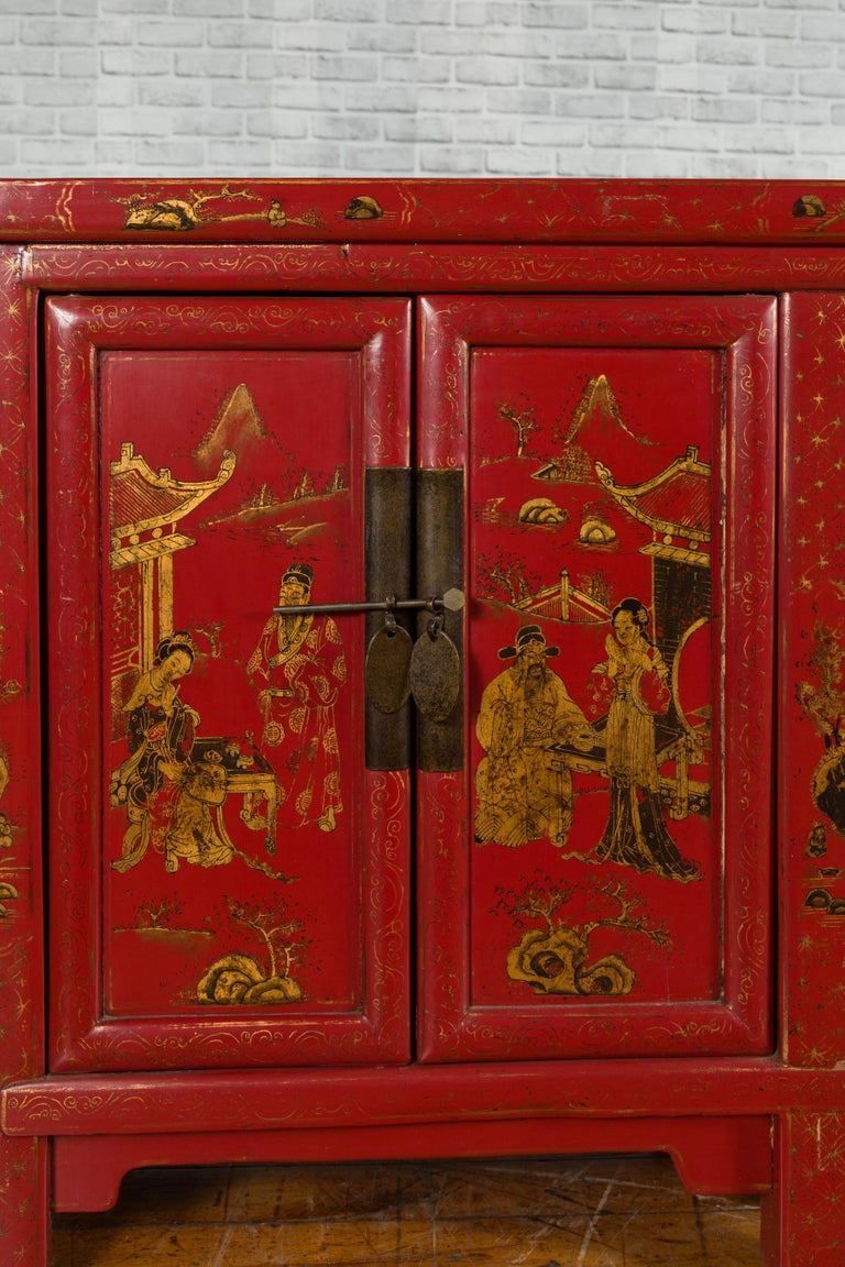 Large Chinese Shanxi Red Lacquered Sideboard with Gilded Chinoiseries Motifs In Good Condition For Sale In Yonkers, NY