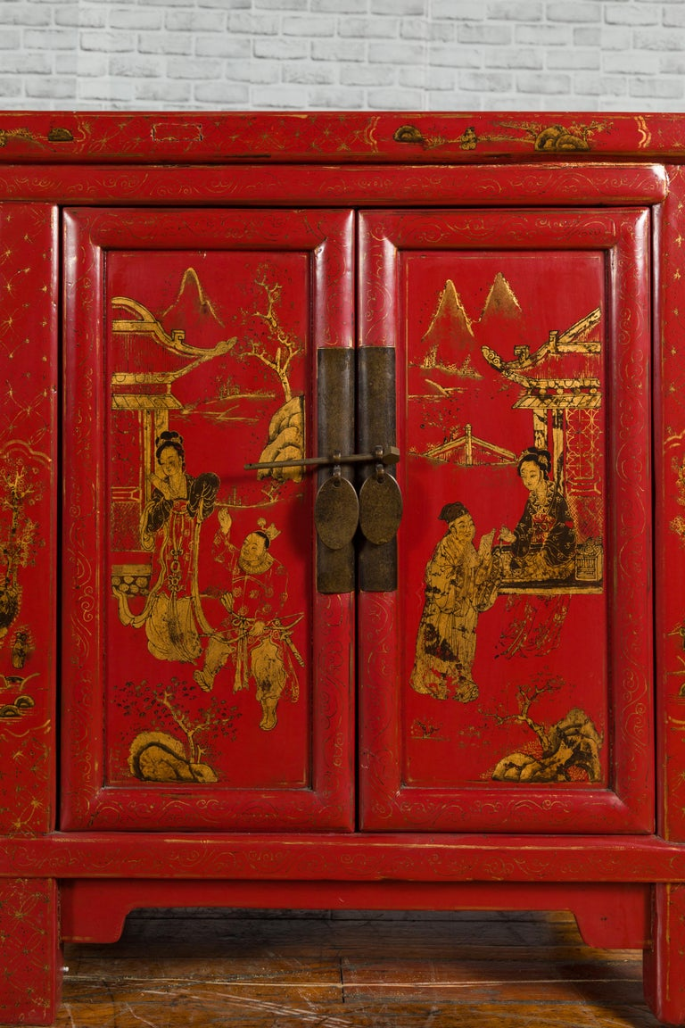Wood Large Chinese Shanxi Red Lacquered Sideboard with Gilded Chinoiseries Motifs For Sale