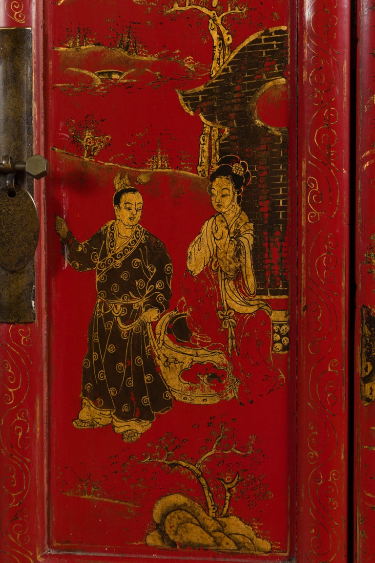 Large Chinese Shanxi Red Lacquered Sideboard with Gilded Chinoiseries Motifs For Sale 1