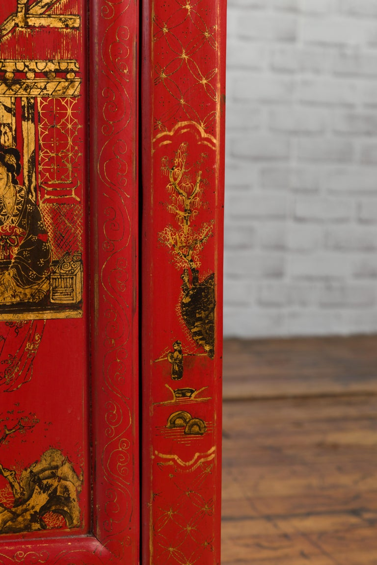 Large Chinese Shanxi Red Lacquered Sideboard with Gilded Chinoiseries Motifs For Sale 3