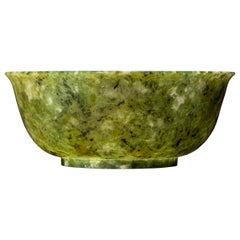 Large Chinese Spinach Green Jade Bowl