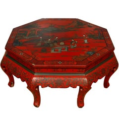 Large Chinese Style Octagonal Red Lacquer Scenic Coffee Table