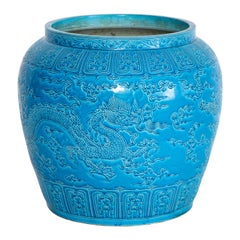 Large Chinese Turquoise Blue Ground Five-Claw Dragon Planter/Jardinière