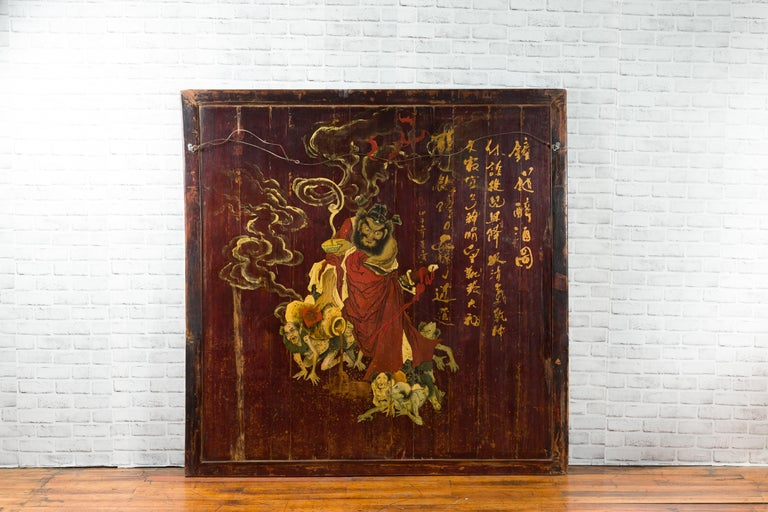 Large Chinese Two-Sided Painted Elm Screen Depicting Guanyin and Zhong Kui For Sale 6