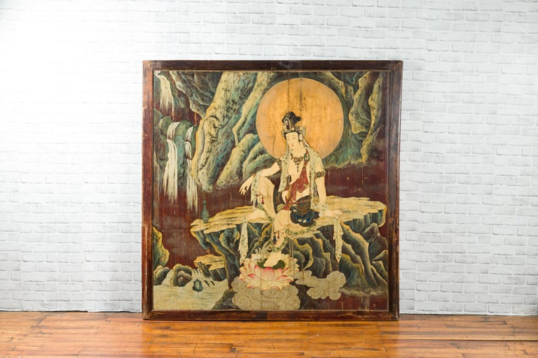 Hand-Painted Large Chinese Two-Sided Painted Elm Screen Depicting Guanyin and Zhong Kui For Sale