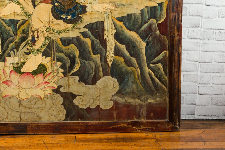 Large Chinese Two-Sided Painted Elm Screen Depicting Guanyin and Zhong Kui For Sale 3
