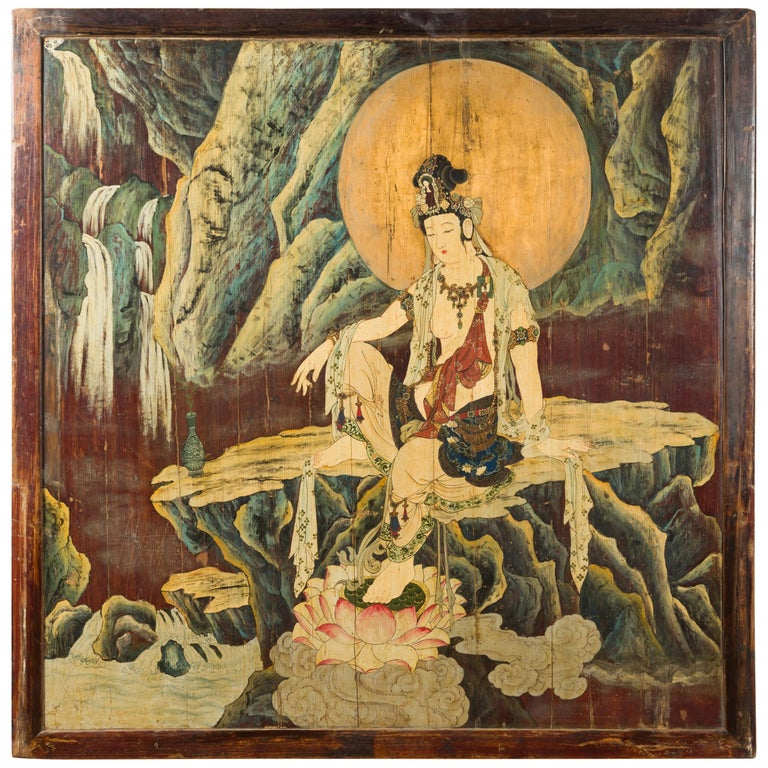 Large Chinese Two-Sided Painted Elm Screen Depicting Guanyin and Zhong Kui For Sale
