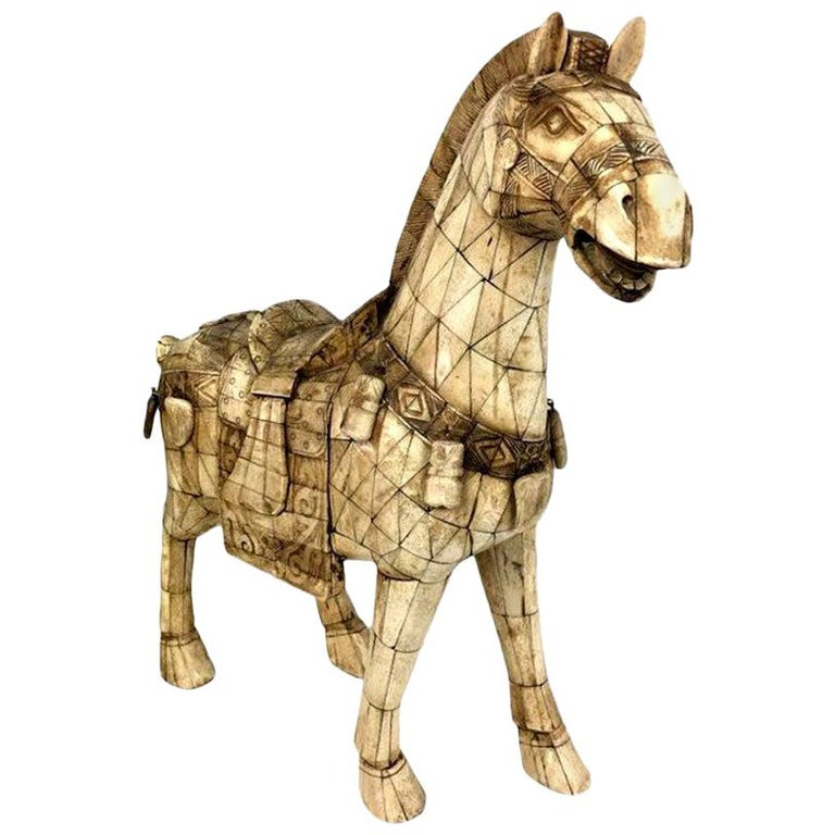 Large Chinese Vintage Bone Horse Sculpture Figure For Sale