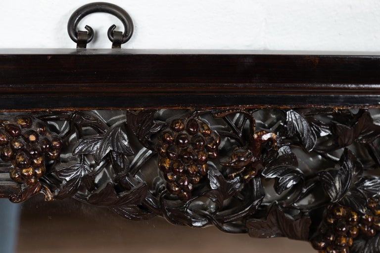 Hand-Carved Large Chinese Vintage Hand Carved Mirror with Flowers and Fruits of the Earth For Sale
