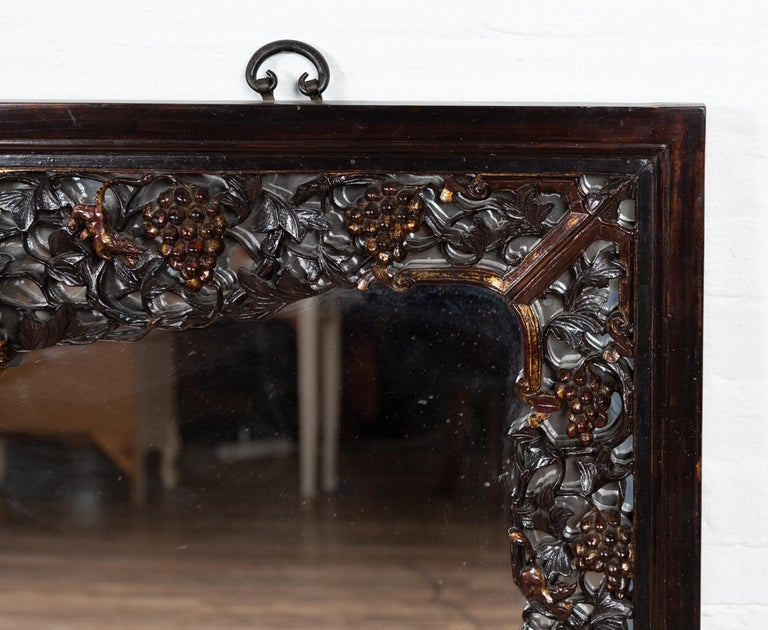 Large Chinese Vintage Hand Carved Mirror with Flowers and Fruits of the Earth For Sale 3