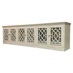 Large Chinoiserie Fretwork Mirrored Credenza