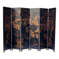 Large Chinoiserie Six Panel Black Lacquer and Gilt Screen by Maitland-Smith