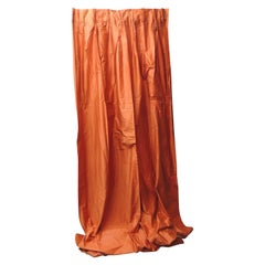 Large Chintz Burnt Orange Pinch Pleats Drapery Panel