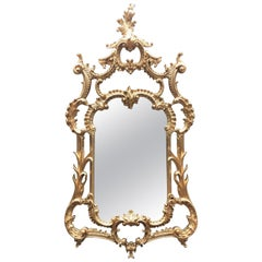 Large Chippendale Gilt Pier Mirror, Carved Wood, 20th Century