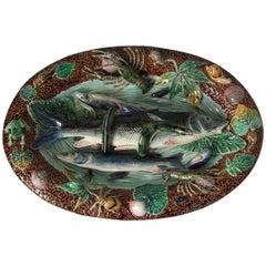 Large Choisy Le Roi Palissy Majolica Fish Wall Platter