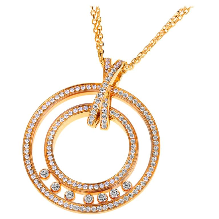 Large Chopard Happy Diamonds 1.70 Carat 18 Karat Gold Round Pendant Necklace For Sale