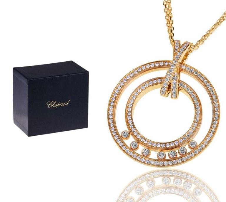 Contemporary Large Chopard Happy Diamonds 1.70 Carat 18 Karat Gold Round Pendant Necklace For Sale