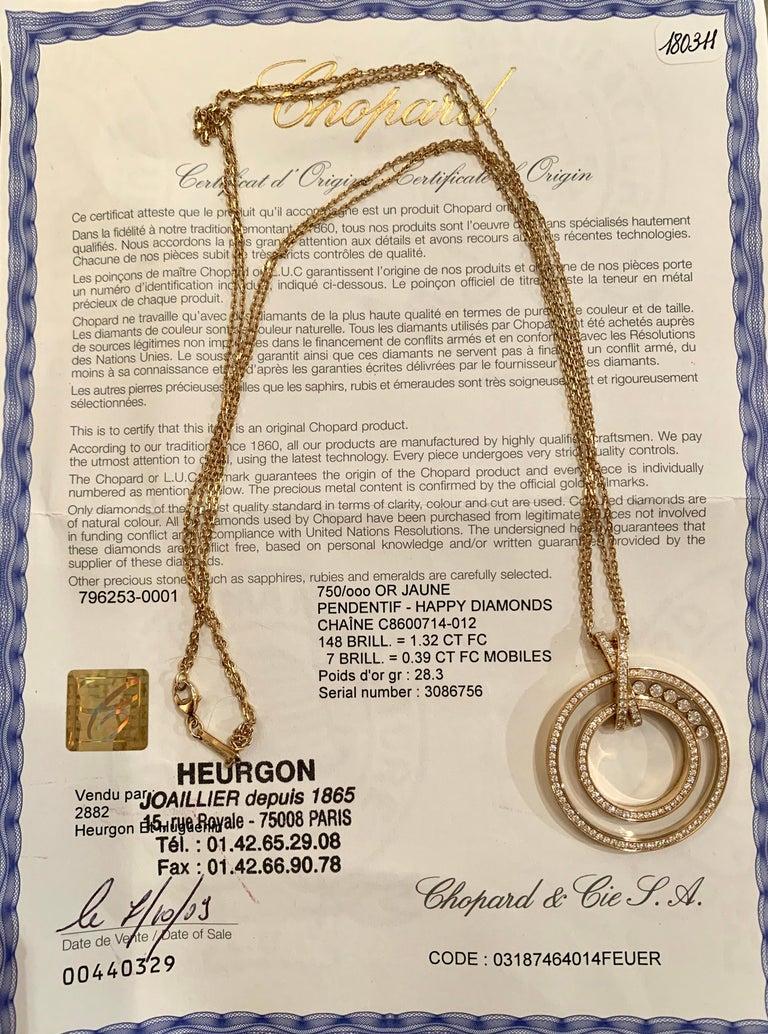 Round Cut Large Chopard Happy Diamonds 1.70 Carat 18 Karat Gold Round Pendant Necklace For Sale