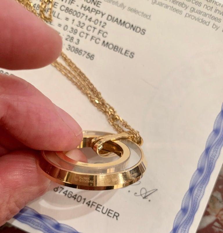 Large Chopard Happy Diamonds 1.70 Carat 18 Karat Gold Round Pendant Necklace For Sale 1