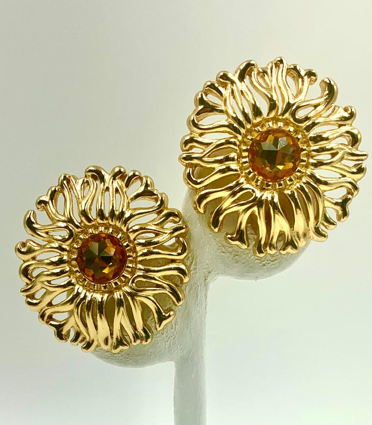 Women's or Men's Large Christian Dior Vintage Soleil Earrings, 1980s For Sale