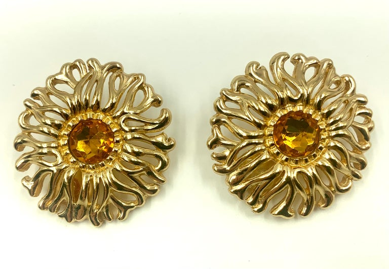 Large Christian Dior Vintage Soleil Earrings, 1980s For Sale 1