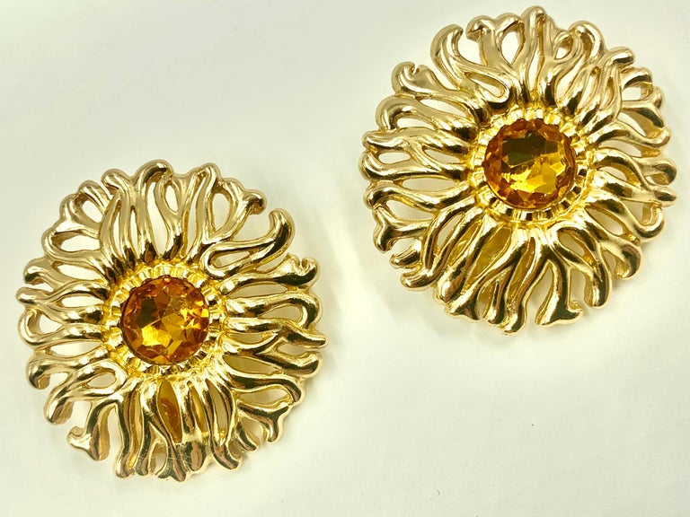Large Christian Dior Vintage Soleil Earrings, 1980s For Sale 2