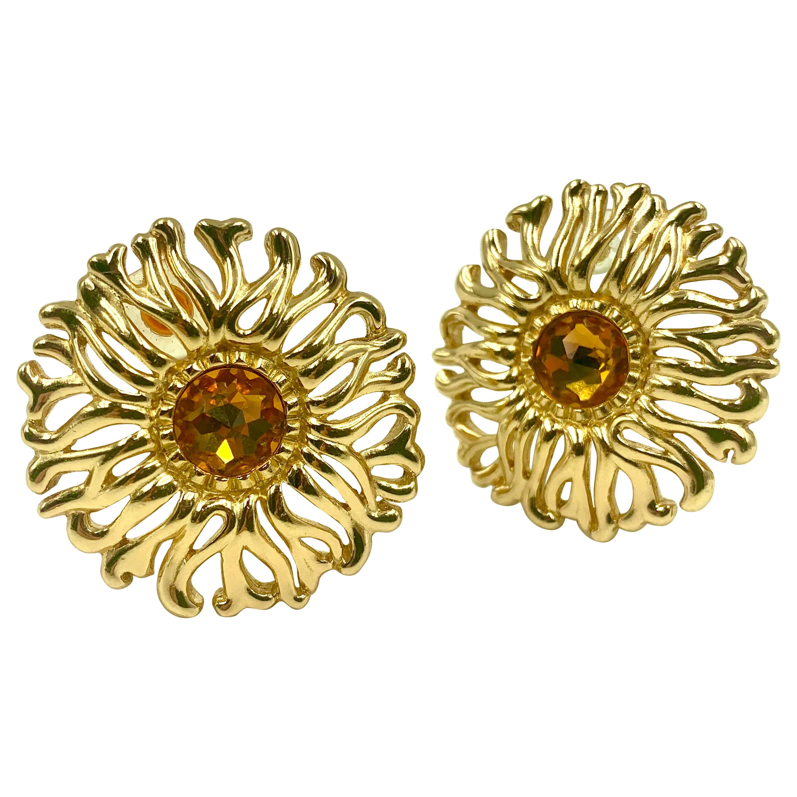 Large Christian Dior Vintage Soleil Earrings, 1980s