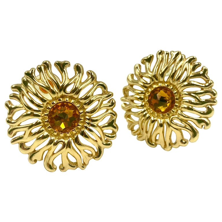 Large Christian Dior Vintage Soleil Earrings, 1980s For Sale