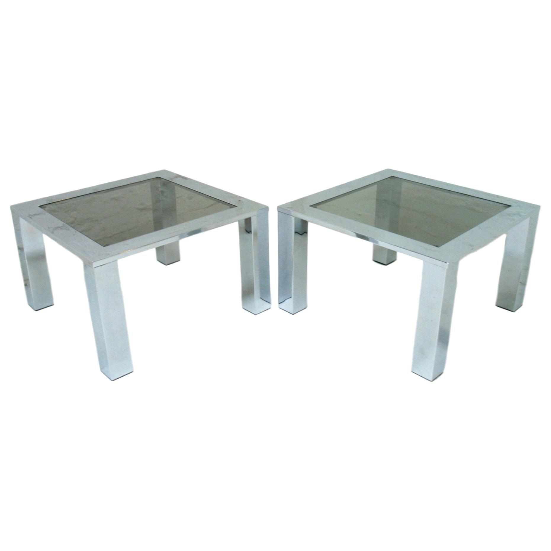 Large Chrome and Glass Coffee Tables Belgo Chrome Belgochrom circa 1978