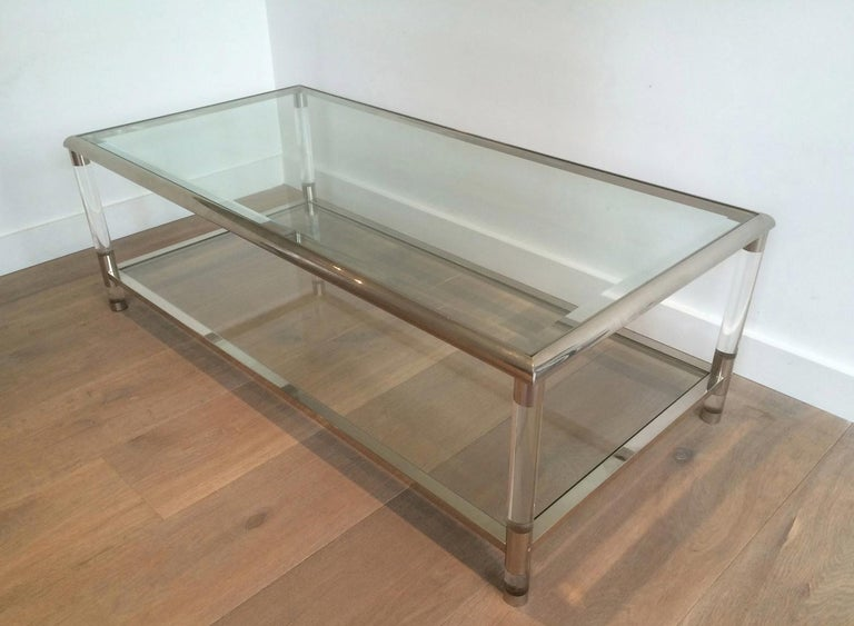 Large Chrome and Lucite Coffee Table, French, circa 1970 For Sale 4