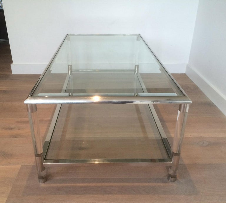 Large Chrome and Lucite Coffee Table, French, circa 1970 For Sale 5