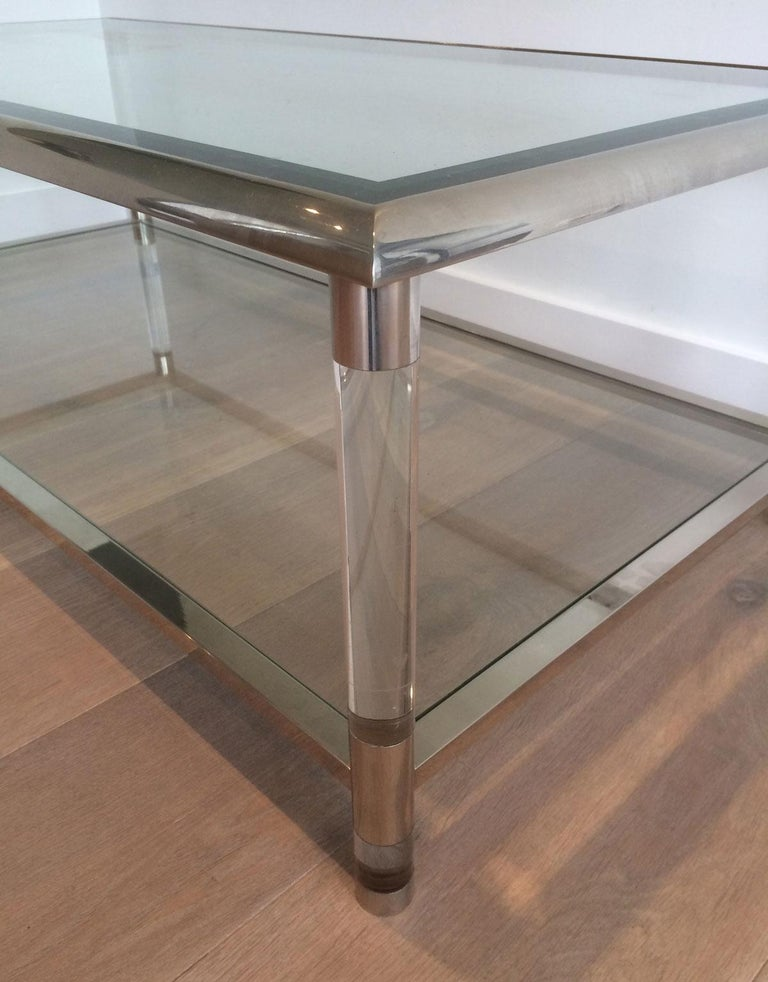 Large Chrome and Lucite Coffee Table, French, circa 1970 In Good Condition For Sale In Marcq-en-Baroeul, FR