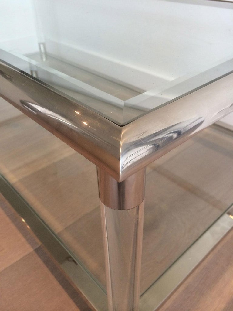 Late 20th Century Large Chrome and Lucite Coffee Table, French, circa 1970 For Sale