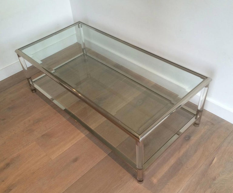 Large Chrome and Lucite Coffee Table, French, circa 1970 For Sale 3