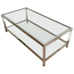 Large Chrome and Lucite Coffee Table, French, circa 1970