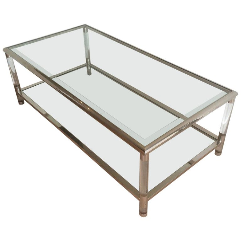 Large Chrome and Lucite Coffee Table, French, circa 1970 For Sale