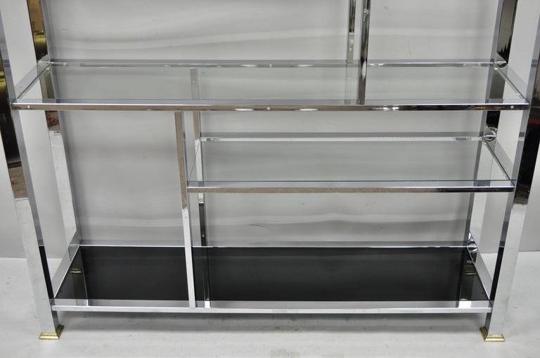 20th Century Large Chrome & Brass Hollywood Regency Mid-Century Modern Étagère Bookcase Shelf For Sale